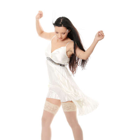 Sexy women in short dress over white Stock Photo - 24505361
