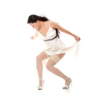 Sexy women in short dress over white Stock Photo - 24505360