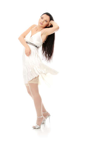 Sexy women in short dress over white Stock Photo - 24505358