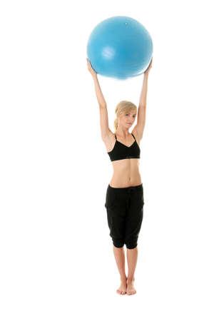 haciendo ejercicio: Joven haciendo ejercicio, aislado en blanco  Foto de archivo