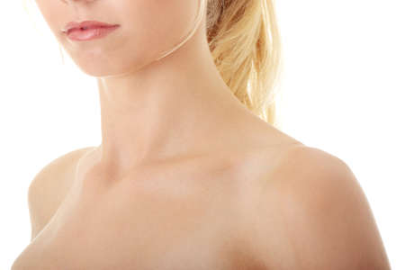 face and shoulders: Neck and shoulder of a beautiful girl isolated on white background