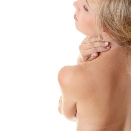 Back pain concept (neck pain) isoalted on white Stock Photo - 9021423