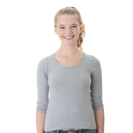 Portrait of an attractive young blond woman isolated on white background Stock Photo - 9021525