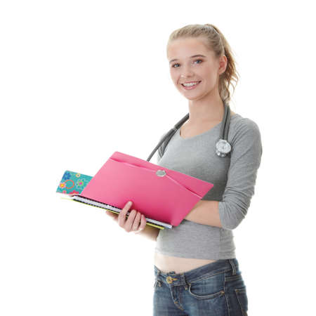 Young female medicine student, isolated on white Stock Photo - 9018105