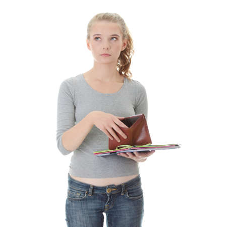 Young caucasian woman with empty wallet - broke concept Stock Photo - 9018073