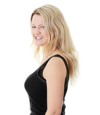 beleibt: Close-up, Portrait einer korpulente Frau, isoliert auf wei�em Hintergrund  Lizenzfreie Bilder