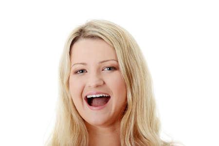 beleibt: Close-up, Portrait einer korpulente Frau, isolated on white background