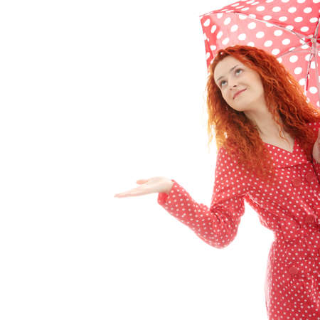 Rainy woman in red, isolated on white background photo