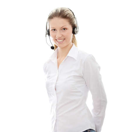 handsfree phone: Call center woman with headset.