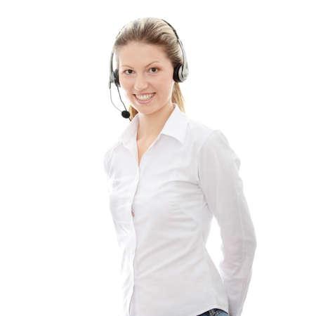 telephone headsets: Llame a la mujer de centro con auriculares.