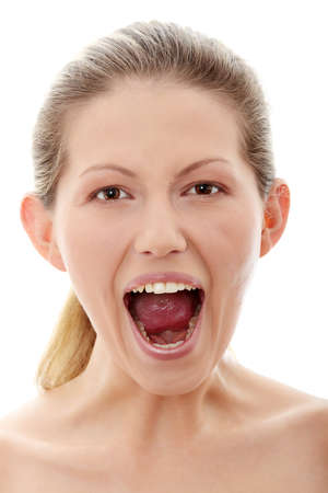 Portrait of gorgeous screaming female isolated on white Stock Photo - 9021580
