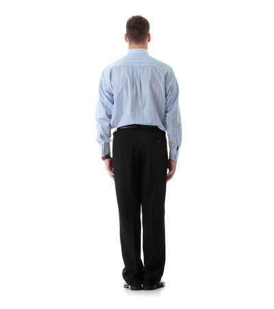 full lenght: Full lenght portrait of businessman standing back, isolated