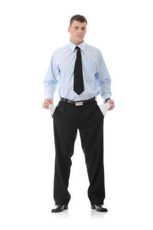 Sad and broke business man with empty pockets Stock Photo - 9002501