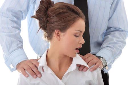 abuso sexual: Abuso sexual en concepto de trabajo. Mujer de hombre molestating Foto de archivo