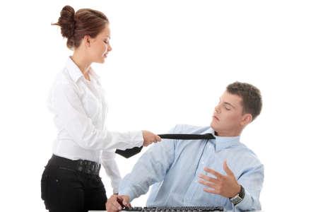 sexual violence: Molestation at work concept. Woman molestating man
