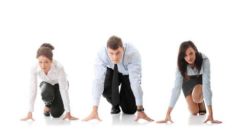 business rival: Concepto de ratas a la carrera. Tres empresarios listos para empezar la carrera Foto de archivo
