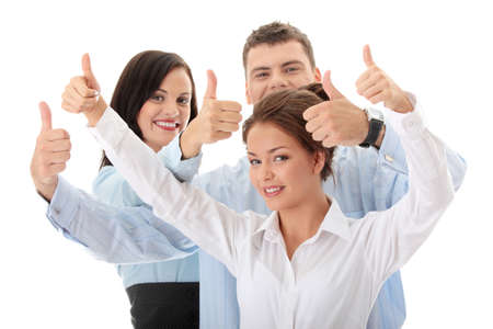 Happy business team with thumbs up, isolated on white background photo