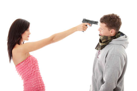 overpowered: Woman with gun overpowered thug, isolated on white Stock Photo