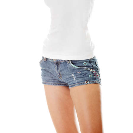 Preety woman's waist isolated on a white background