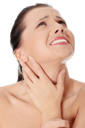 sore throat: Throat pain concept. Young woman with touching her throat.