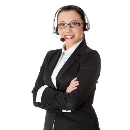 Young business woman with headset photo