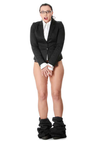 Young businesswoman caught with pants down. Isolated on white background. Stock Photo - 9002442