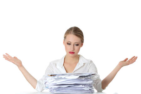 much: Overworked businesswoman isolated on white Stock Photo
