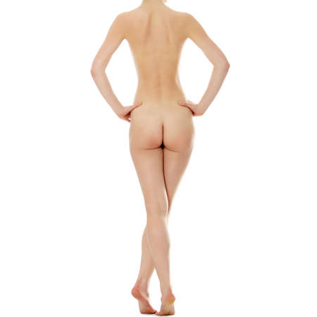 naked girl: Naked beautiful woman, back view  Isolated on white