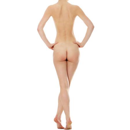 corps femme nue: Nu belle femme, vue de dos isolé sur blanc Banque d'images