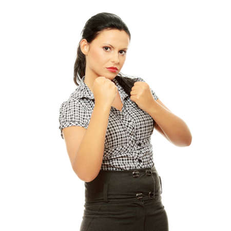 Business woman on white getting into a fight. Stock Photo - 9021050