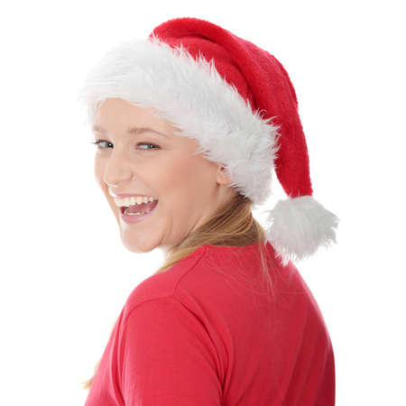 Santa Girl isolated on white photo
