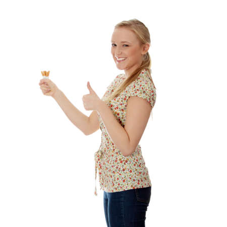 quiting smoking: Young caucasian woman quiting smoking isolated  Stock Photo