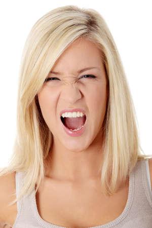 mujer enojada: Una mujer frustrada y enojada est� gritando en voz alta. Foto de archivo