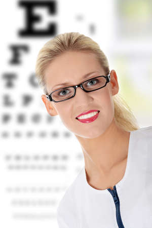 doctor of optometry: Female ophthalmologist, isolated on white