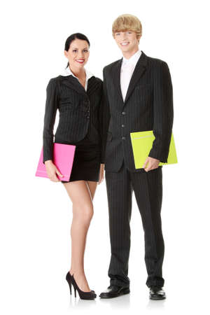 Young business colleges wearing business suit isolated on white background  photo