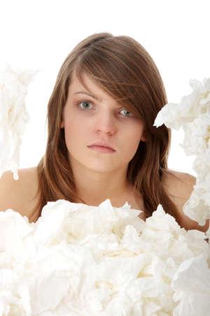 Woman holding tissue isolated on white background photo