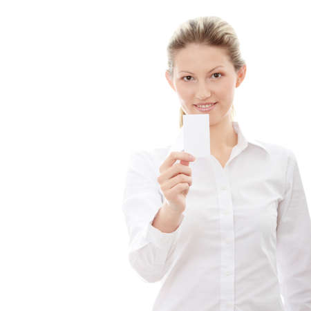 Beautiful businesswoman with business card, isolated on white background photo