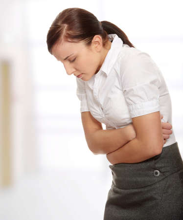 abdominal pain: Woman with stomach issues