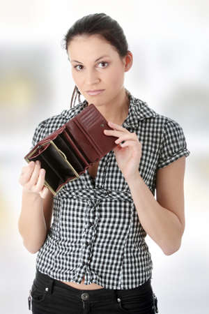 broke: Young caucasian woman with wmpty wallet - broke