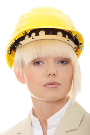 Portrait of confident female worker in helmet  photo