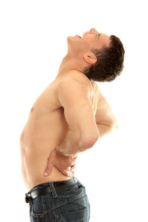 Young male with back pain isolated on white photo