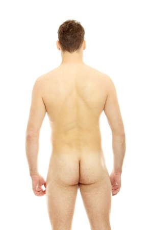 hombre desnudo: Parte posterior del hombre musculoso sexy, aislado en blanco  Foto de archivo