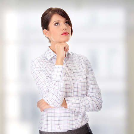 Thoughtful business woman portrait photo