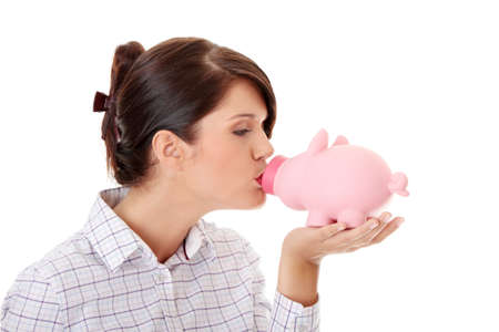 Woman Holding Piggy Bank Stock Photo - 9030120