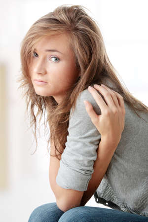 troubled teen: Young beautiful woman with depression