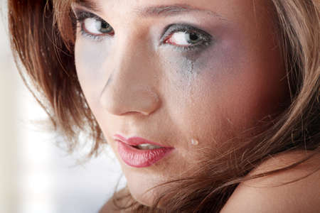 Emotional portrait of abused, crying, beautiful, young ,caucasian woman in underwear - violence concept Stock Photo - 9033533