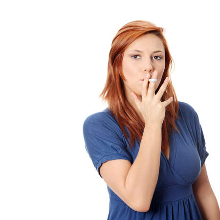 Young woman smoking electronic cigarette (ecigarette), isolated on white Stock Photo - 9033599