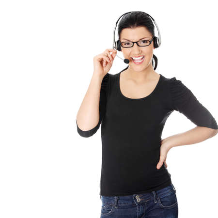 Call center woman with headset. Isolated on white Stock Photo - 9033562