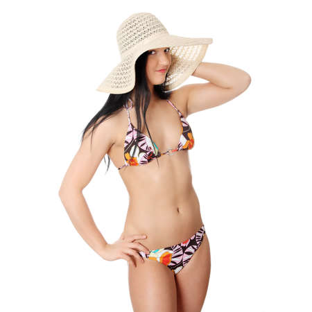 Summer young woman in bikini, isolated on white background Stock Photo - 9035403