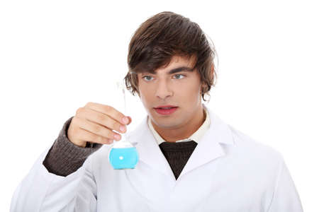 Lab worker with white coat , isolated on white photo